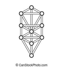 diagramme, arbre, vie, illustration, contour, sacré, monochrome