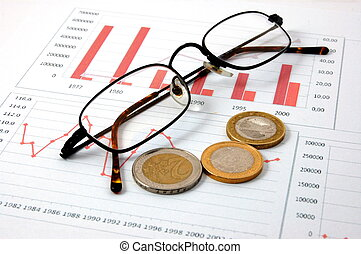 diagramme, argent, business, sur, spectacles, reussite