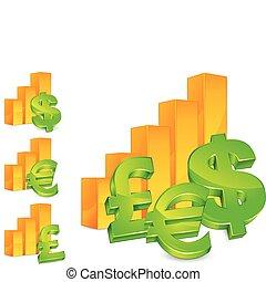 diagramme, argent, signes