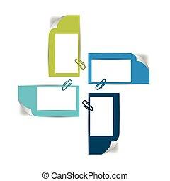 diagramme, autocollants, quatre, module., diagramme, papier, étapes, plan