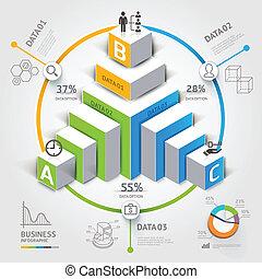 diagramme, business., escalier, 3d