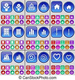 diagramme, buttons., fleur, archive, registre, espèces, maison, grand, ensemble, reload, multi-coloré, heart., bâtiment, épée