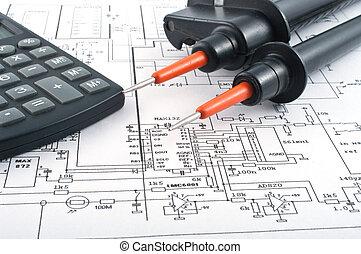 diagramme, calculatrice, électrique, testeur tension