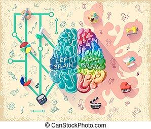 diagramme, cerveau, concept, dessin animé, humain