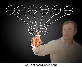 diagramme, client, expérience
