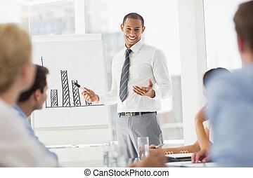 diagramme, co, présentation, homme affaires, ouvriers, jeune, barre, heureux