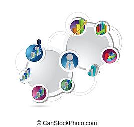 diagramme, concept, illustration affaires, réseau