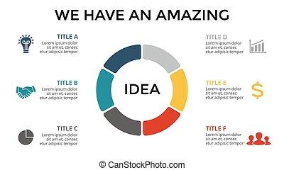 diagramme, concept, processes., business, infographic, options, graphique, chart., parties, 3, vecteur, étapes, cercle, présentation, cycle