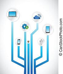 diagramme, concept, technologie, circuit, illustration