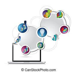 diagramme, concept, technologie, illustration affaires