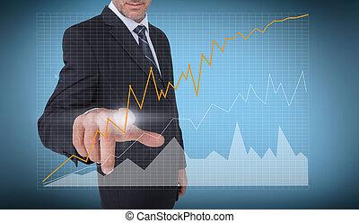 diagramme, courbe, toucher, homme affaires