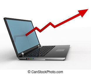 diagramme croissance, concept, ordinateur portable, business, profit, flèche