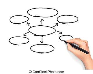 diagramme, dessiné, 3d, vide, main