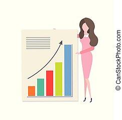 diagramme, dessin animé, femme, présentation, revenu