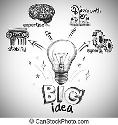 diagramme, dessin, grande idée, main