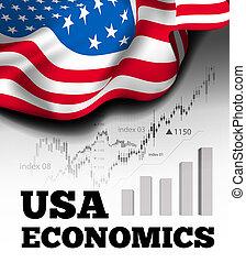 diagramme, diagramme, marché, taureau, économie, américain, ...