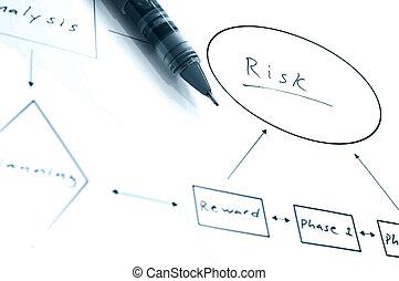 diagramme, diagramme, risque, couler, duotone