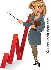 diagramme, femme affaires, haut, rouges