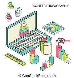 diagramme, finance, business, analytics, isométrique, graphique