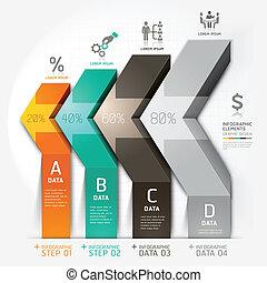 diagramme, flèche, escalier, business, 3d