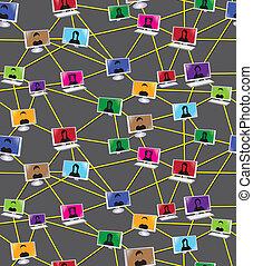 diagramme, gens, social, business