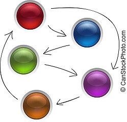 diagramme, gestion, business, isolé, illustration, stratégie, boutons, vecteur