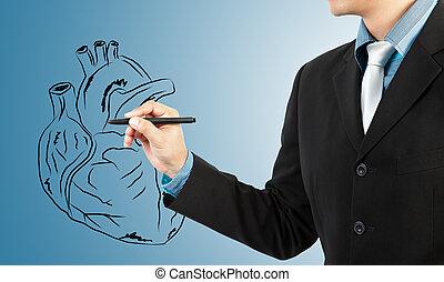 diagramme, homme affaires, dessin, coeur
