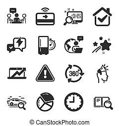 diagramme, icônes technologie, ventes, symbols., ensemble, ...