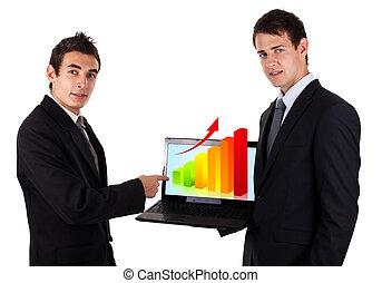 diagramme, industries spectacle, 2, homme, ordinateur portable