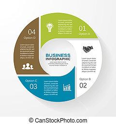 diagramme, infographic, 4, cercle, présentation, options