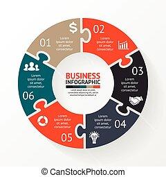 diagramme, infographic, puzzle, 6, cercle, options