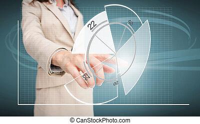 diagramme, interface, futuriste, femme affaires, tarte, toucher