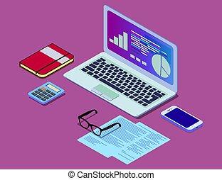 diagramme, isométrique, concept, finance, bureau, infographic., travail, lunettes, eps, illustration, bureau, vecteur, informatique, téléphone, clavier, station., stockage
