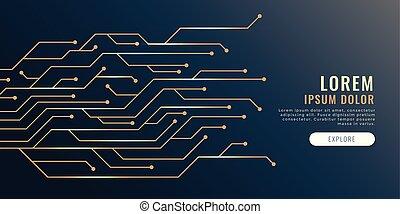 diagramme, lignes, technologie, circuit, bannière