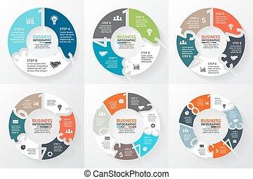 diagramme, nombres, 8, 5, 2, 3, infographic, flèches, 1, 6, vecteur, cercle, 7, 4