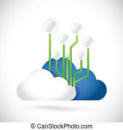 diagramme, nuage, circuit, illustration, calculer