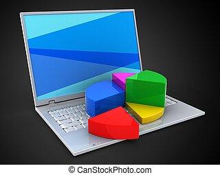 diagramme, ordinateur portable, 3d, diagramme, tarte