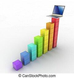 diagramme, ordinateur portable, business, 3d