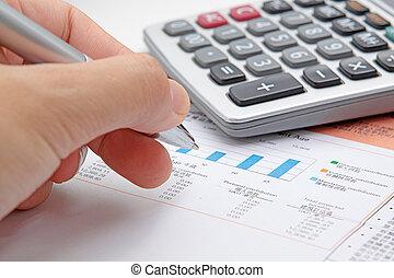 diagramme, pen., rapport financier, projection, homme affaires, main