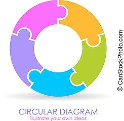 diagramme, puzzle, circulaire