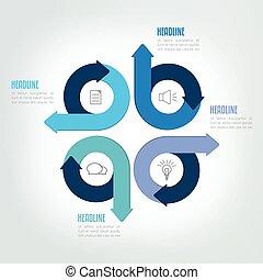 diagramme, quatre, module., diagramme, infographic, étapes, flèche, cercle, plan, gabarit
