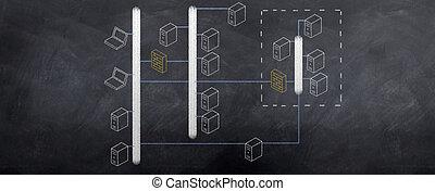 diagramme, réseau, il, topology