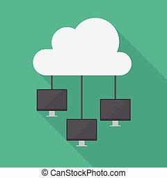 diagramme, réseau, nuage, calculer