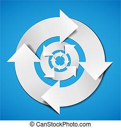 diagramme, résumé, vecteur, cycle vie