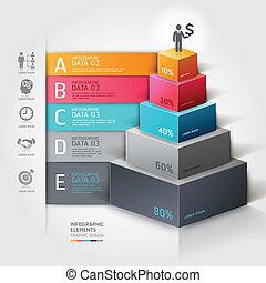 diagramme, step., escalier, business, 3d