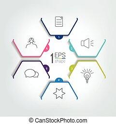 diagramme, template., infographic, 6, diagramme, vecteur, étapes, scheme., élément