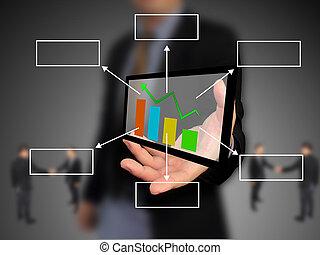 diagramme, tenue, business, main