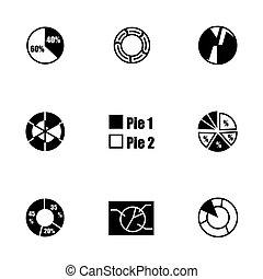 diagramme, vecteur, ensemble, tarte, icône
