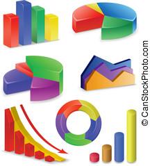 diagrammen, en, grafieken, verzameling