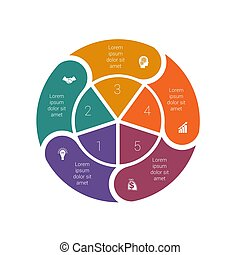 diagrammen, mal, infographic, 5., ring, proces, pastei, ...